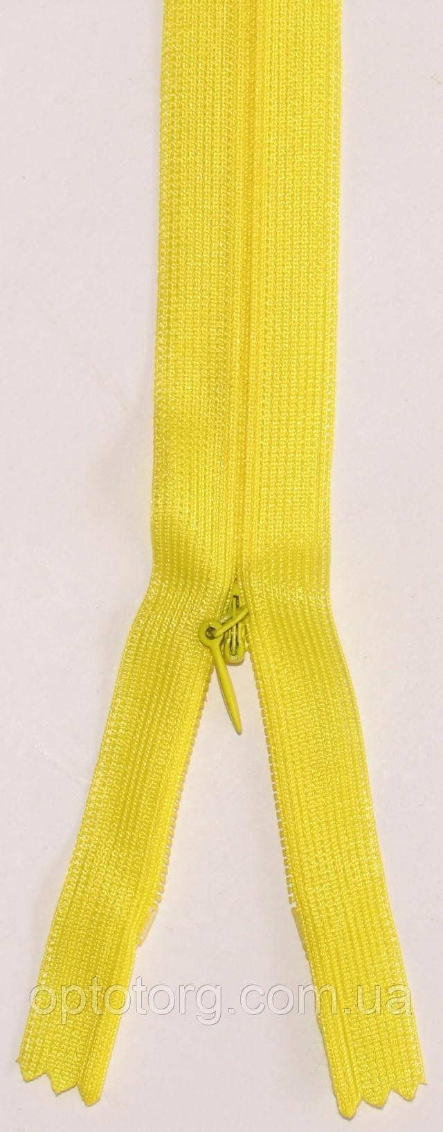 Потайная неразъёмная молния светло желтого цвета одинарная длина 50см оптом от optotorg.com.ua
