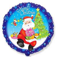 """Шары воздушные фольгированные  18"""" Дед Мороз с подарками."""