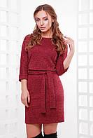 Красивое повседневное женское платье из ангоры до колен с поясом, бордовый меланж