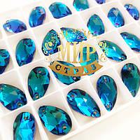 Пришивные капли стекло Lux, цвет Meridian Blue,11x18мм, 1шт