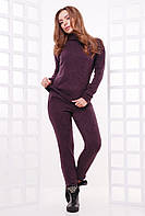 Стильный и теплый женский повседневный костюм из ангоры (гольф и штаны) темно-баклажановый