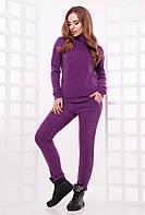 Стильный и теплый женский повседневный костюм из ангоры (гольф и штаны) фиолетовый