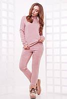 Стильный и теплый женский повседневный костюм из ангоры (гольф и штаны) розовый