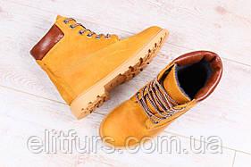 Зимние женские ботинки, из натурального нубука, песочного цвета