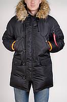 Зимняя мужская парка Olymp с нашивками - Аляска черная