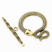Застежка-тогл змея, цвет античное золото УТ100005166