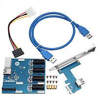 PCI-E 1X Расширение Набор 1 до 4 портов Switch Multiplier Hub Riser Card USB 3.0 Кабель