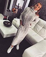 Платье теплое вязанное длинное
