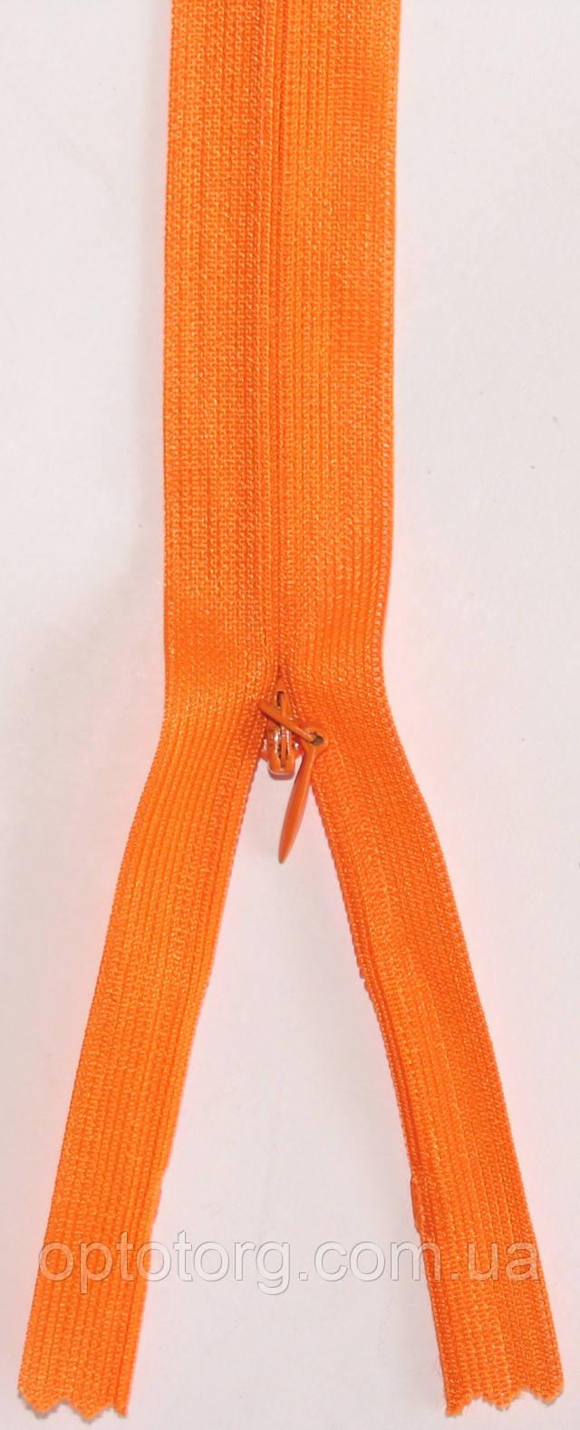 Потайная молния 50см неразъемная оранжевого цвета оптом от optotorg.com.ua