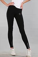 Стильные женские лосины (реплика) Philipp plein черного цвета