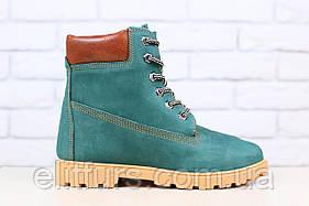Зимние женские ботинки, из натурального нубука, изумрудного цвета