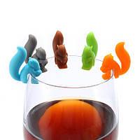 KCASA KC-GC01 5Pcs Силиконовый Cute Squirrel Чай Сумка Держатель для вина, стеклянный шарм Напитки Maker Bar Набор