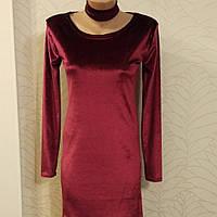 Платье нарядное бархат со стрейчем цвет бордо