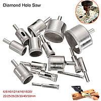 15 штук 6-50mm Алмазная пила для сверления Дрель Бит Set 100 Grits Tile Керамический Стеклянный мрамор Дрель Биты