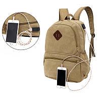Мужская женская одежда Водонепроницаемы Canvas Рюкзак для ноутбука Сумка С внешним USB-портом для зарядки