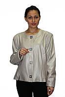 Жемчужная кожаная женская куртка - пиджак на кнопках, фото 1