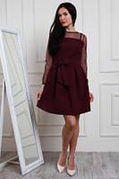 Изящное платье. Новогодние платья. Нарядный look. Коллекция зима 2017-2018. Необычное платье цвета марсала, фото 1