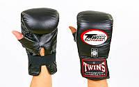 Снарядные перчатки кожаные TWINS (черный)