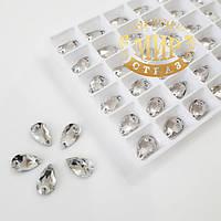 Пришивные капли стекло Lux, цвет Crystal, 7x12мм, 1шт