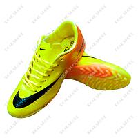Обувь футбольная бампы (сороконожки) Nike Mercurial FB20-2Lucifer Yel-Orange (р-р 36-41, желто-оранж)