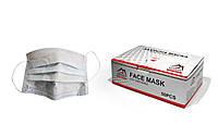 Маска одноразовая трехслойная белая на резинке (50шт) 17.5x9.5cм VULKAN