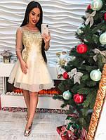 Женское шикарное платье с вышивкой и стразами