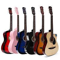 38 дюймов Деревянная народная акустическая гитара 6 Цветная гитара с Сумка для начинающих