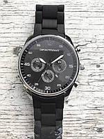 Мужские наручные черные серебряные часы EMPORIO ARMANI