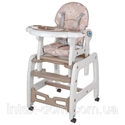 Детский стульчик для кормления Bambi (M 1563-13) БЕЖЕВЫЙ