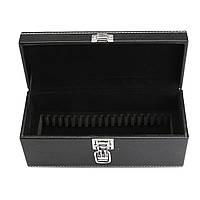 Хранение Коробка Чехол Держатель для монет Черный Кожа PU для плиты Сертифицированные монеты 20шт Капсулы