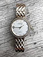 Женские наручные  золотые часы с камнями Chanel