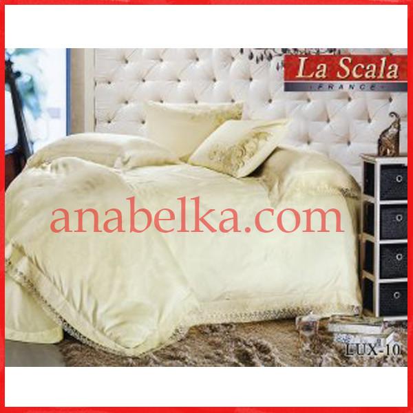 Постельное бельё шёлковый жаккард с вышивкой  LUX-10 (La Scala)