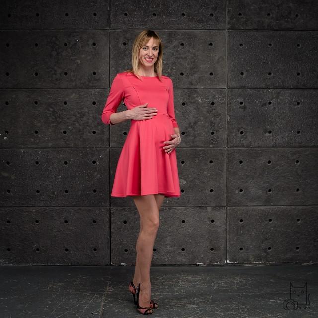 Платье скейтер для беременных и кормящих мам HIGH HEELS MOM (коралловый, размер М)