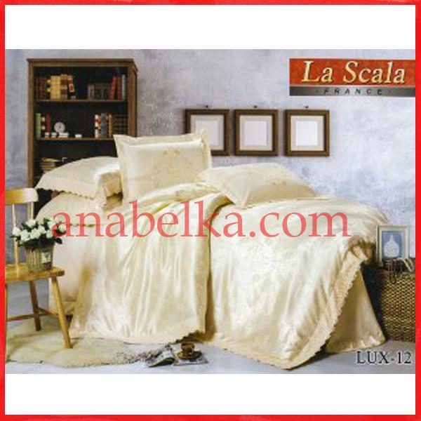 Постельное бельё шёлковый жаккард с вышивкой  LUX-12 (La Scala)