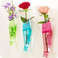 Honana DX-VX1 Творческие настенные рыбные вазы для цветов Hydroponic Transparent Vase Home Wall Decor