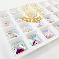 Пришивные стразы Lux 14мм, форма Квадрат, цвет Crystal AB, 1шт