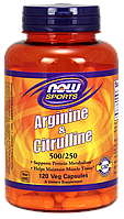 Аргинин с цитруллином / NOW - Arginine & Citrulline - 120 Veg Capsules, 500/250 mg