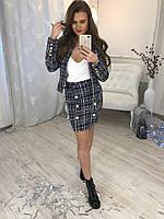 Женский костюм в стиле шанель юбка и пиджак