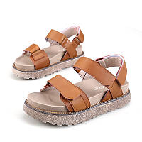 ЖенщиныРимСандалииВеснаОсенниекожаныекруглаяголоваПлоские туфли на платформе Удобный нескользящий