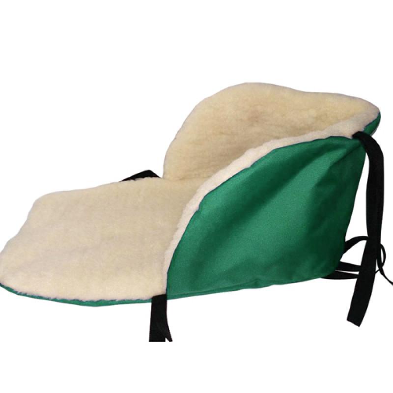 Чехол в санки меховой зеленый