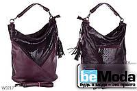 Эффектная и удобная женская сумка Kiss me A695 с контрастными вставками под кожу рептилии цвета красного вина