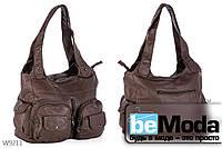 Очень удобная женская сумка Kiss me оригинального дизайна с вместительными накладными карманами цвета хаки