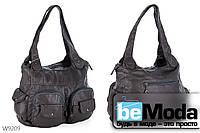 Очень удобная женская сумка Kiss me W784 оригинального дизайна с вместительными накладными карманами серая