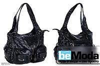 Очень удобная женская сумка Kiss me W784 оригинального дизайна с вместительными накладными карманами черная