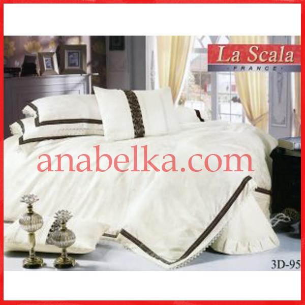 Постельное бельё шёлковый жаккард с вышивкой  3D-095  (La Scala)
