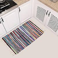 Большой размер Ручной коврик из хлопка Многоцветный плетеный слой кисточки Полосатый пол Коврики Главная Ковры