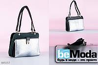 Изысканная и элегантная женская сумка с качественной эко кожи под кожу рептилии черная с серебряным