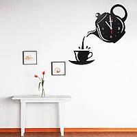 DIY Современный чайник и чашка Акрил Большая черная стена Часы Главная Кухня Столовая Деко