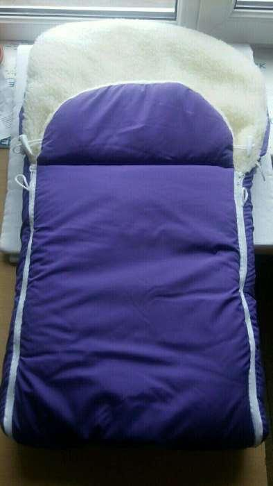Меховой конверт для ребенка в коляску, санки, на выписку фиолетовый
