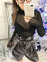 Стильные женские  кожаные шорты -юбка
